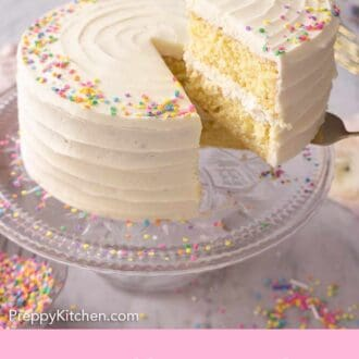 Pinterest graphic of a slice of vanilla cake being lifted from the cake stand.