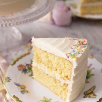 Pinterest graphic of a slice of vanilla cake with buttercream frosting and sprinkles on the edge of the cake.