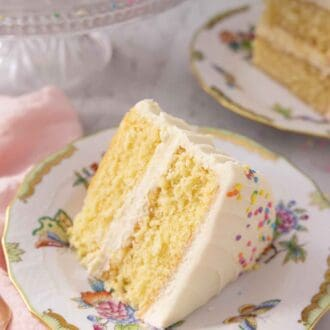 Pinterest graphic of a slice of vanilla cake on its side, showing the two layers with frosting in-between.