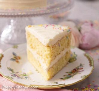 Pinterest graphic of a slice of two tiered vanilla cake with a white buttercream frosting.