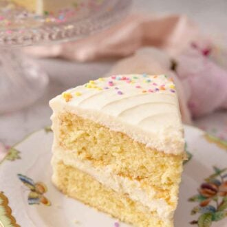 Pinterest graphic of a slice of two tiered vanilla cake with buttercream and sprinkles.