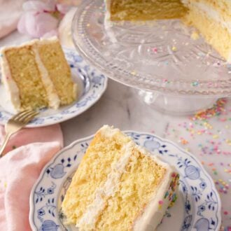 Pinterest graphic of two slices of cake on individual plates in front of a cake stand.