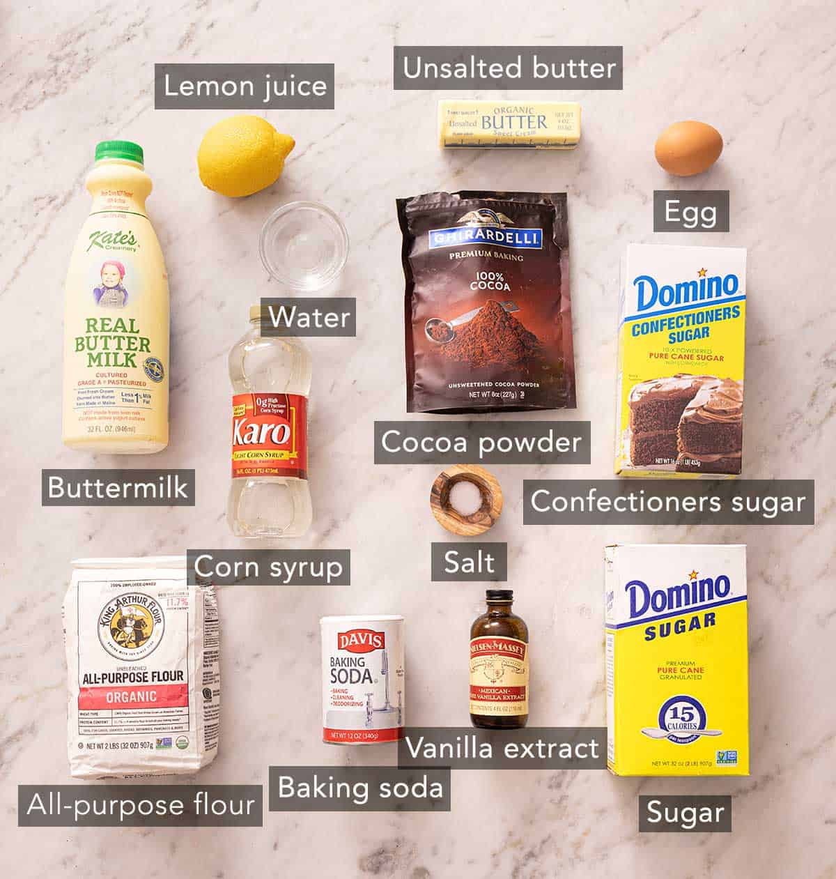 Ingredients needed to make black and white cookies.