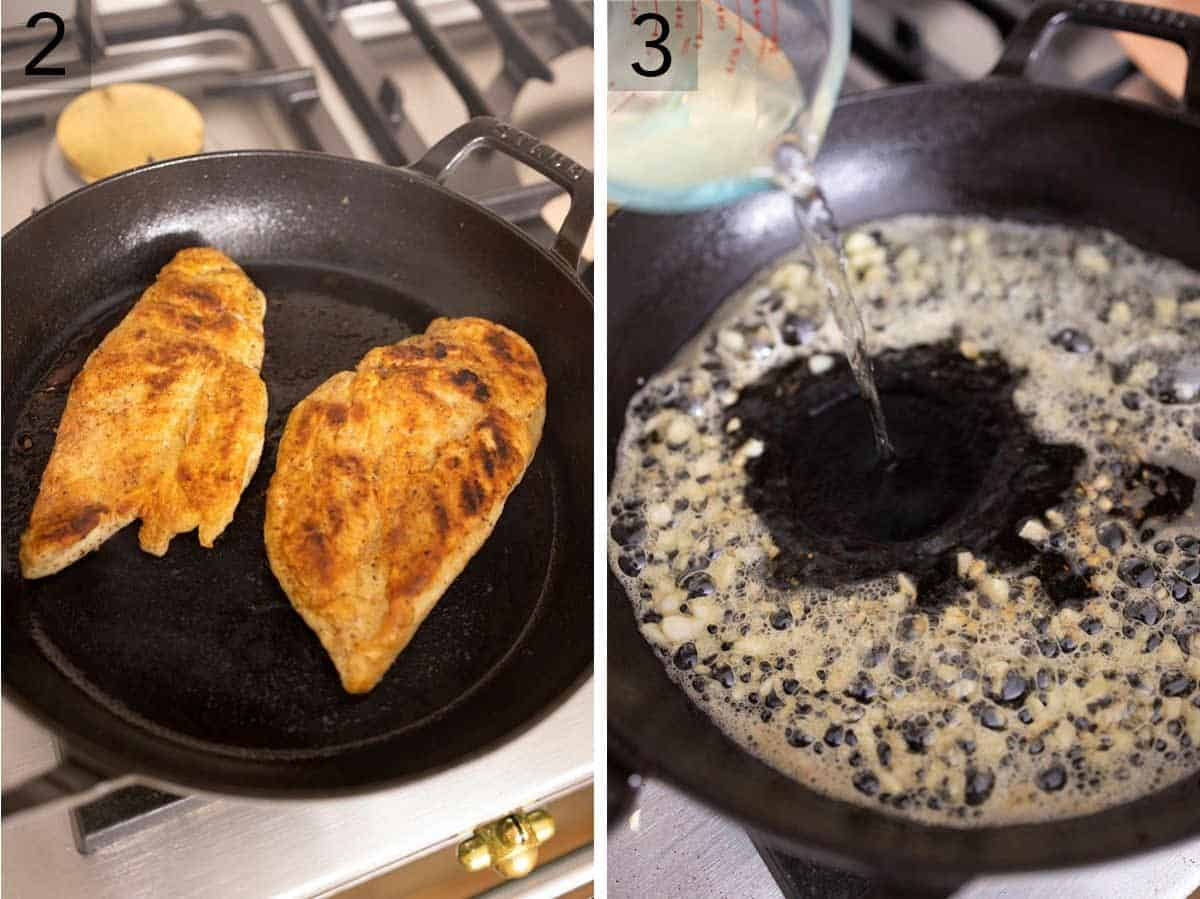 Set of two photos showing the chicken being seared and then wine added to a pan of cooked minced garlic.