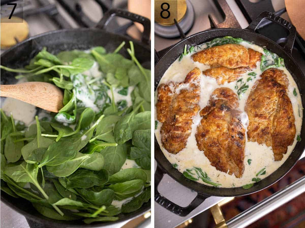Set of two photos showing spinach added to the pan and then the cooked chicken breasts.