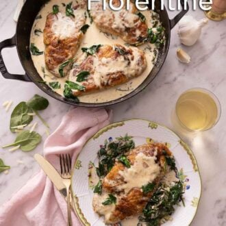 Pinterest graphic of an overhead view of a Staub braiser containing three chicken breasts coated in the florentine sauce beside a plated serving and a glass of wine.