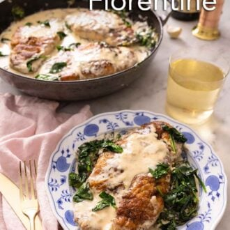 Pinterest graphic of a plate of a serving of chicken florentine with the cast iron containing the rest in the background.