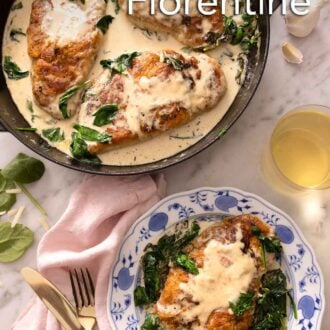 Pinterest graphic of an overhead view of a pot of chicken florentine beside a single serving of it in a plate with a glass of wine.