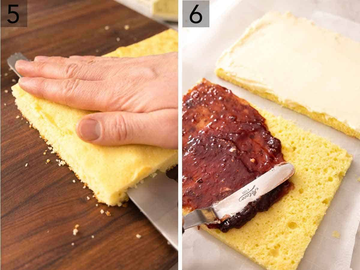 Set of two photos showing cake being sliced in half and then raspberry jam being spread on top.