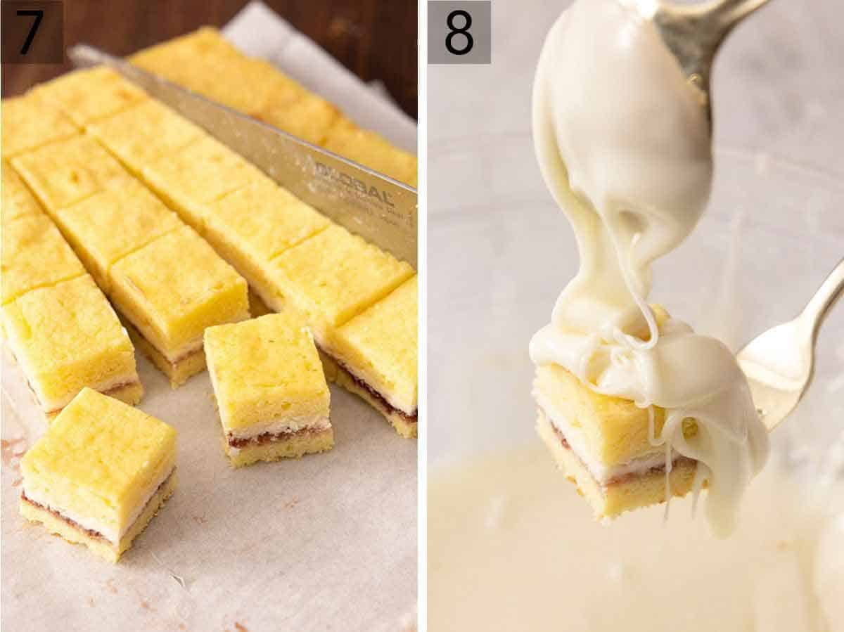Set of two photos showing petit fours being cut and white chocolate being spread over top.