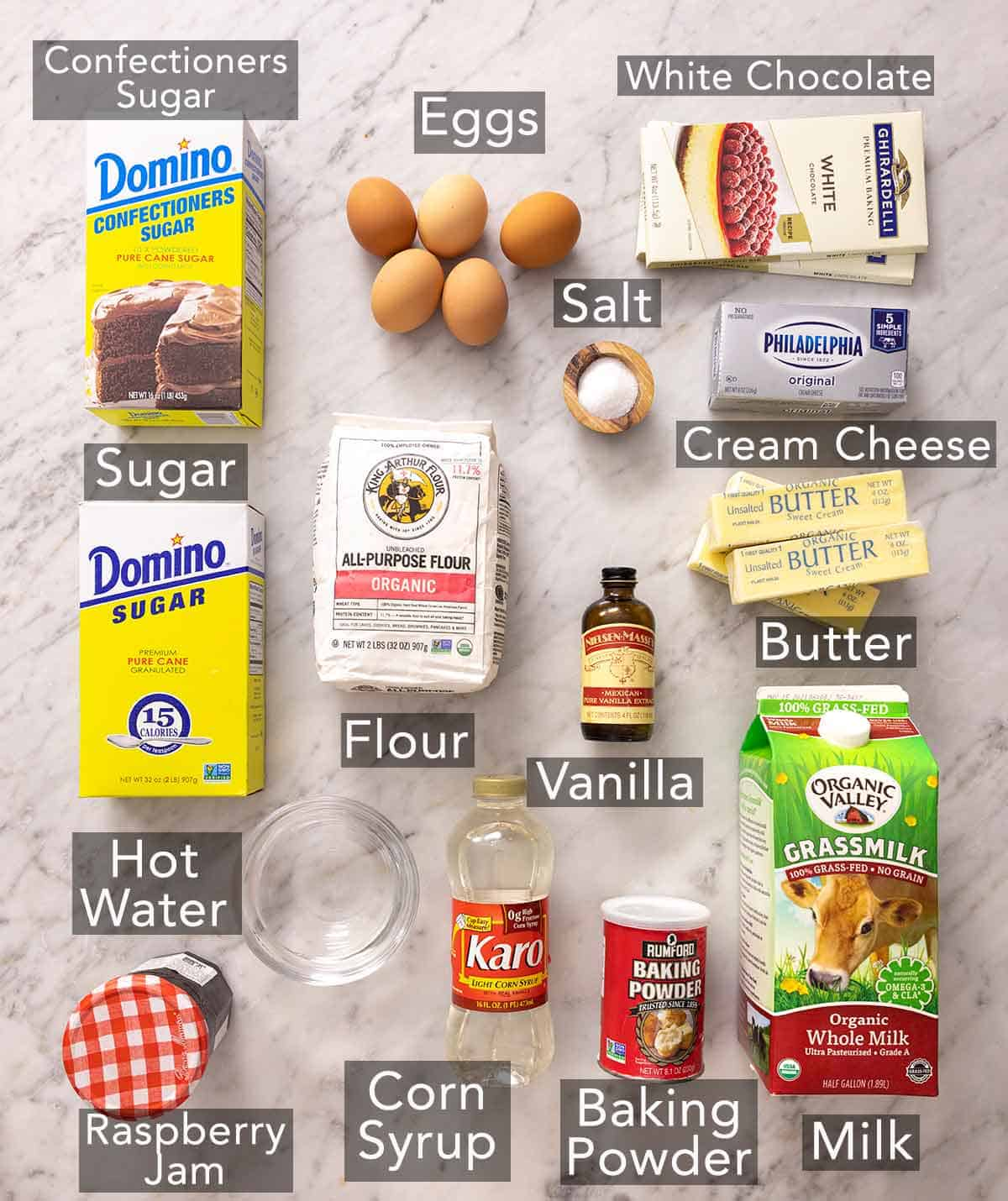 Ingredients needed to make petit fours.