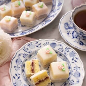 Pinterest graphic of petit fours on a serving platter and a plate with one cut opened.