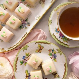 Pinterest graphic of a two rows of petit fours in a platter beside a serving plate with three and a cup of tea.