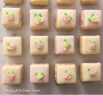 Pinterest graphic of four rows of petit fours with a mini flower on top.