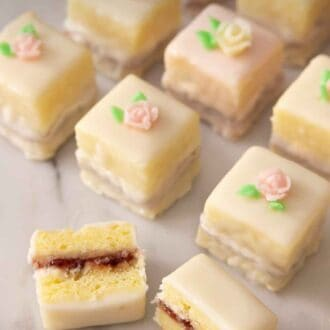 Pinterest graphic of three rows of petit fours with one cut in half.
