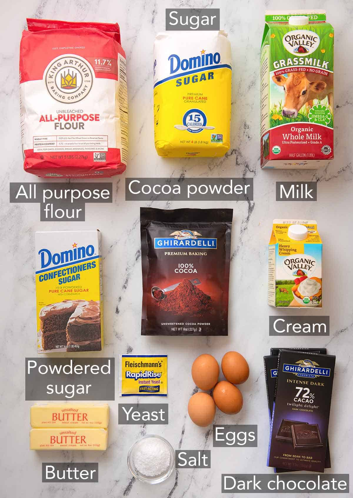 Ingredients needed to make a babka.