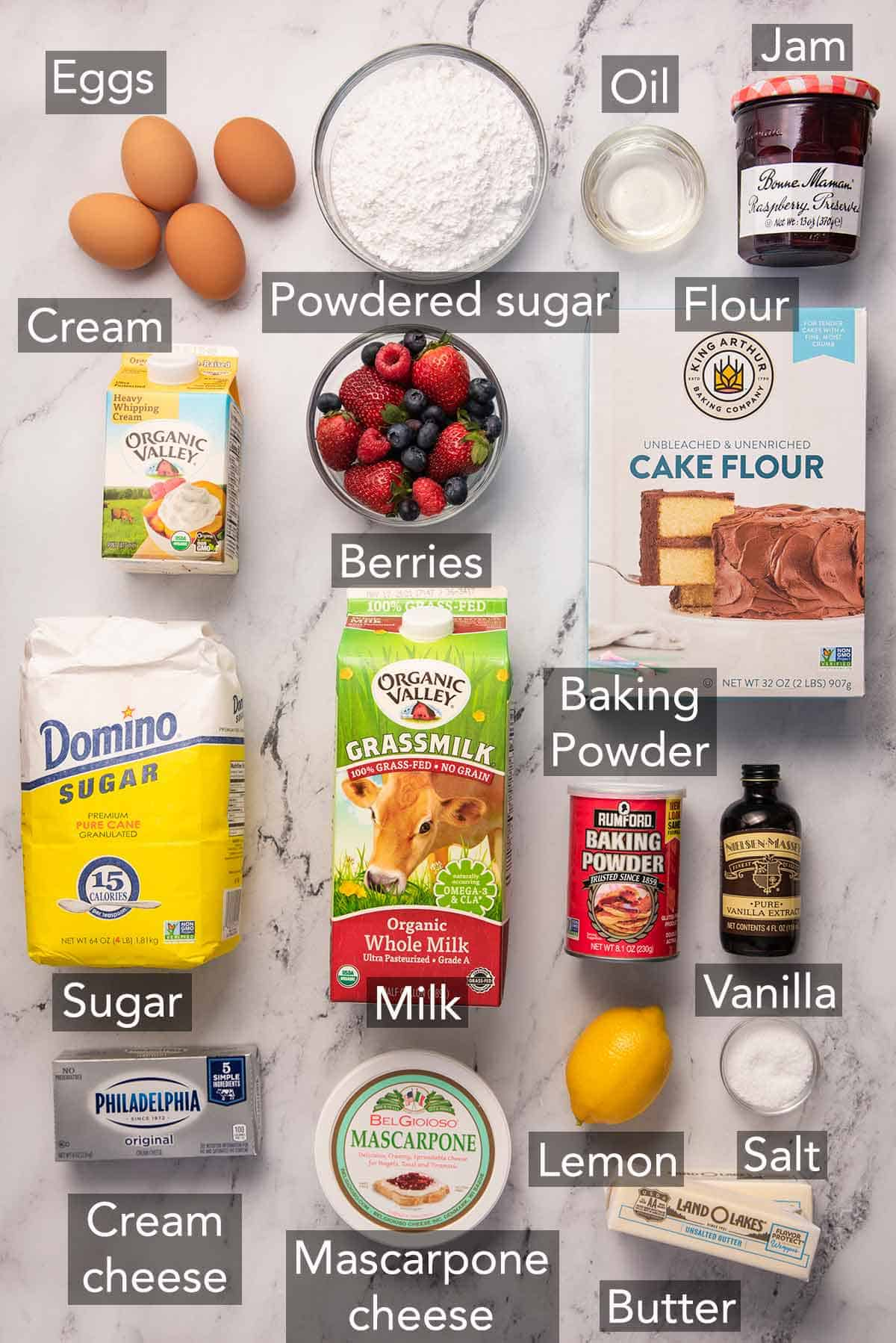 Ingredients needed to make Chantilly cake.