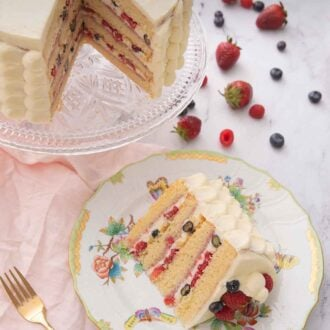 Pinterest graphic of an overhead view of a slice of Chantilly cake on a plate beside the cut cake.