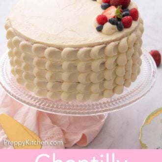 Pinterest graphic of a Chantilly cake with berries on top.