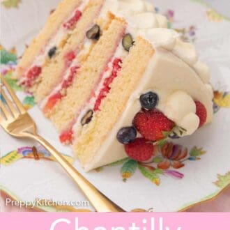 Pinterest graphic of a slice of Chantilly cake with a cream berry layer with berries on top.