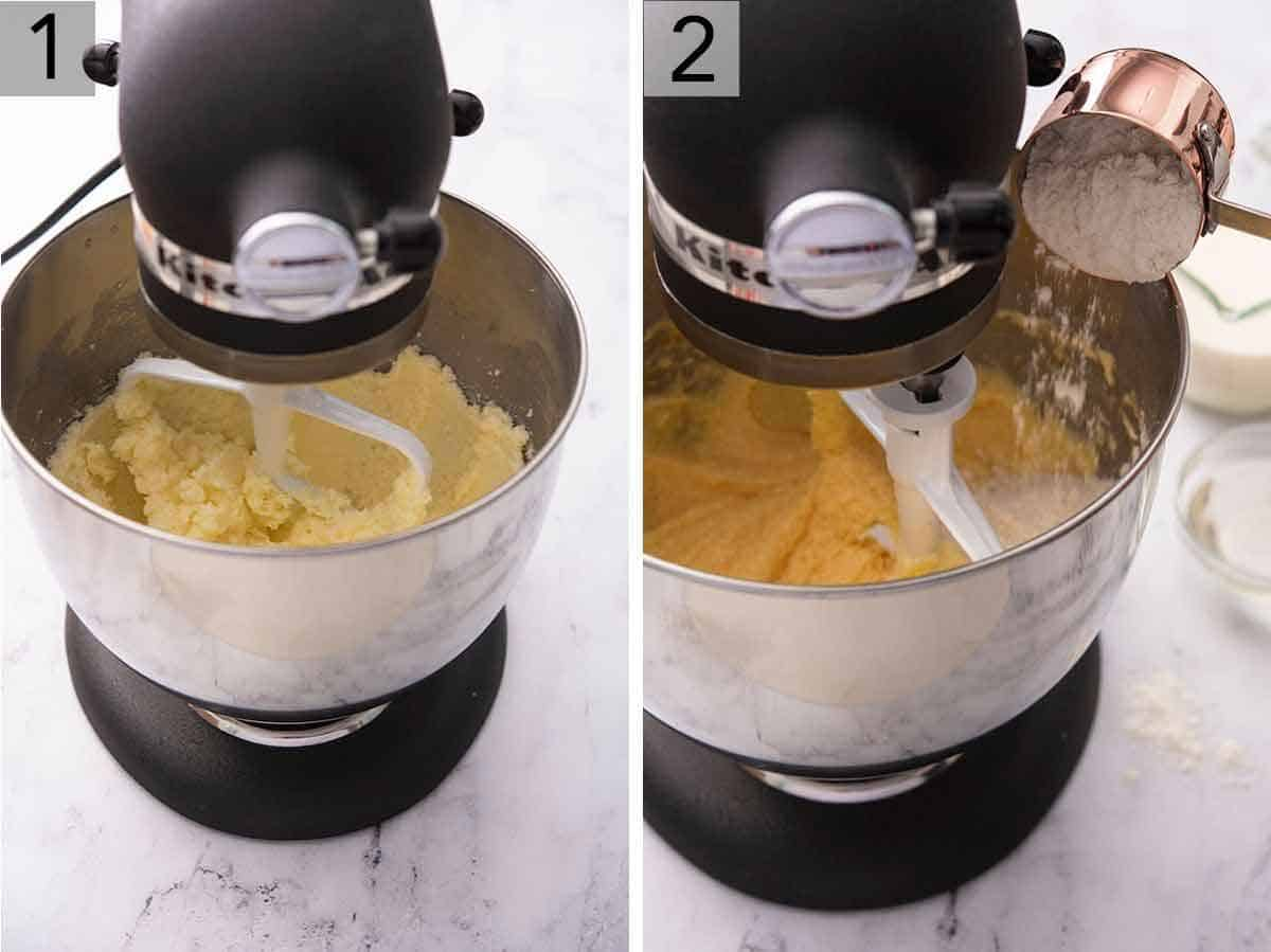 Set of two photos showing butter being creamed in the mixer and then flour being added in.