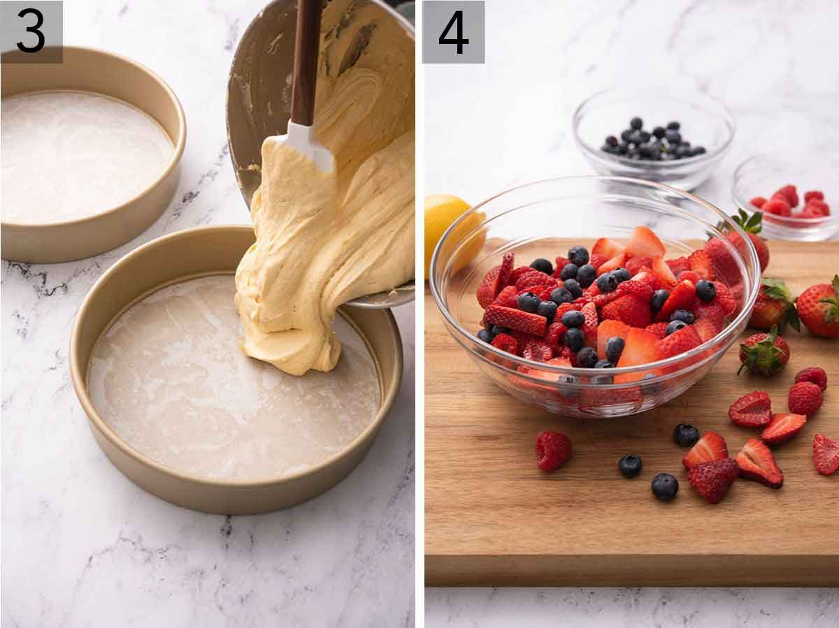 Set of two photos showing batter added to cake pans and berries being prepared on a cutting board.