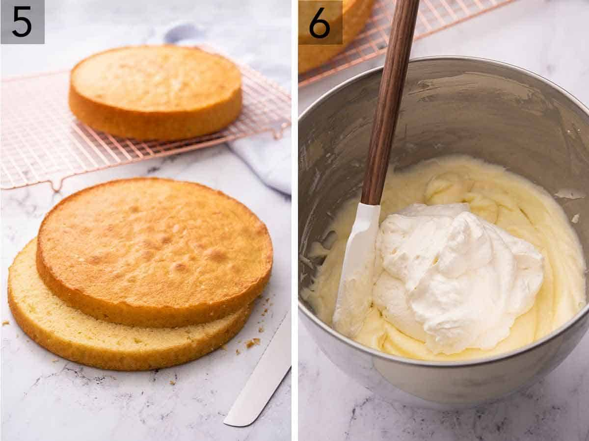 Set of two photos showing one cake on a cooling rack, second being cut in half, and Chantilly cream being prepared.