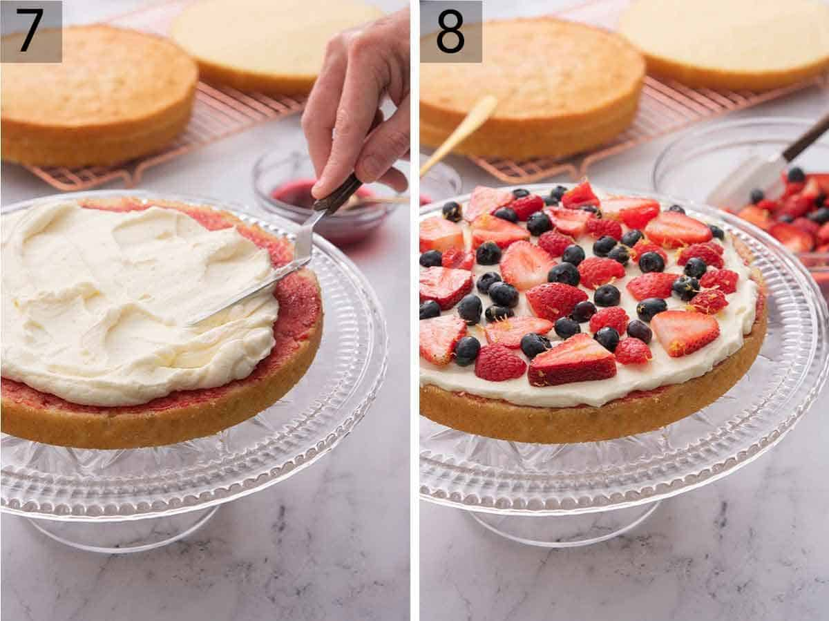 Set of two photos showing jam and Chantilly cream spread onto a cake layer and then topped with berries.
