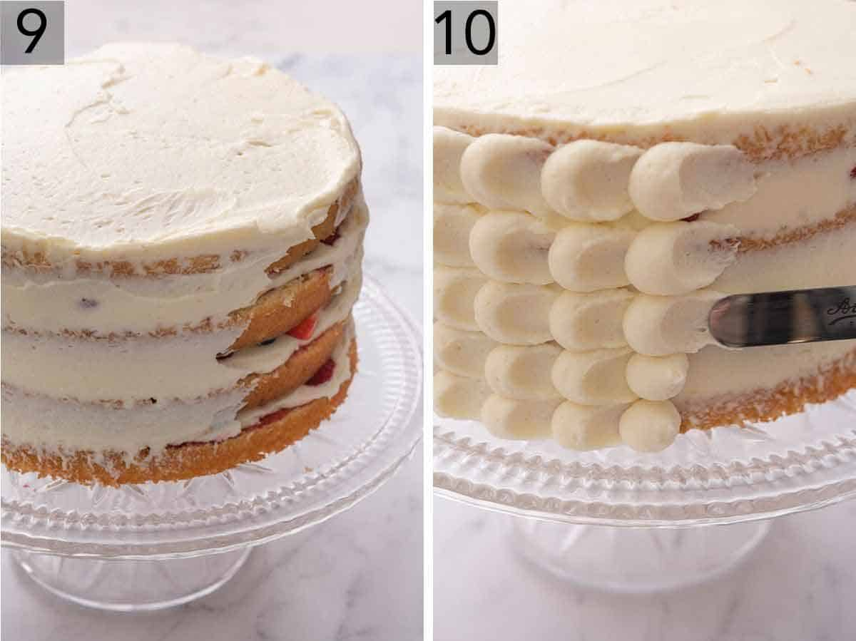 Set of two photos showing Chantilly cake being frosted.