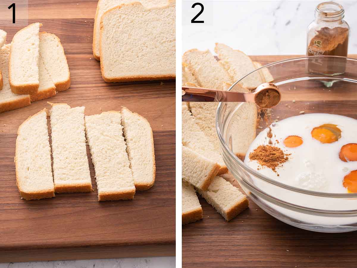 Set of two photos showing sliced bread cut into sticks and the custard ingredients added to a bowl.