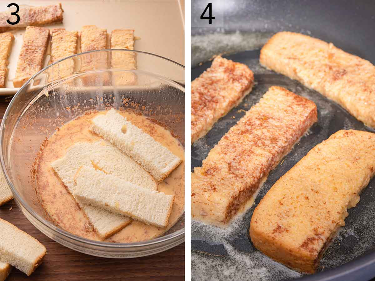Set of two photos showing the bread sticks being dipped in the custard and then pan fried.