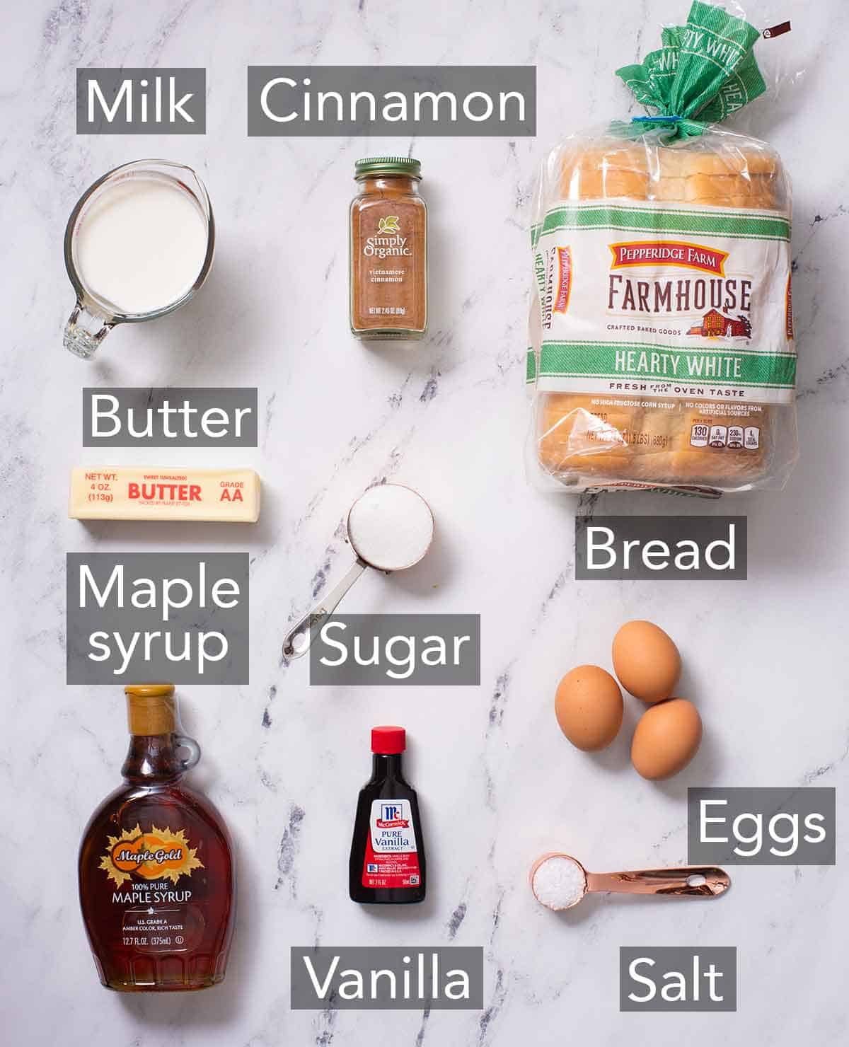 Ingredients needed to make French toast sticks.