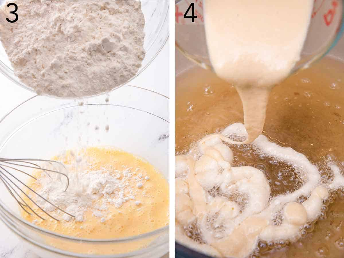 Set of two photos showing dry ingredients added to the wet ingredients then batter poured into hot oil.