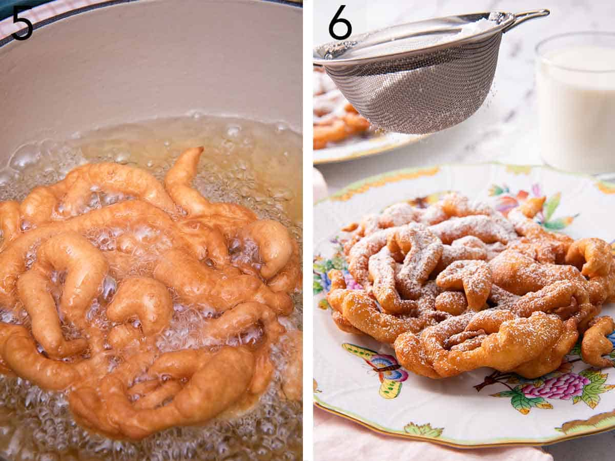 Set of two photos showing fried funnel cake in hot oil and then funnel cake dusted with sugar on a plate.