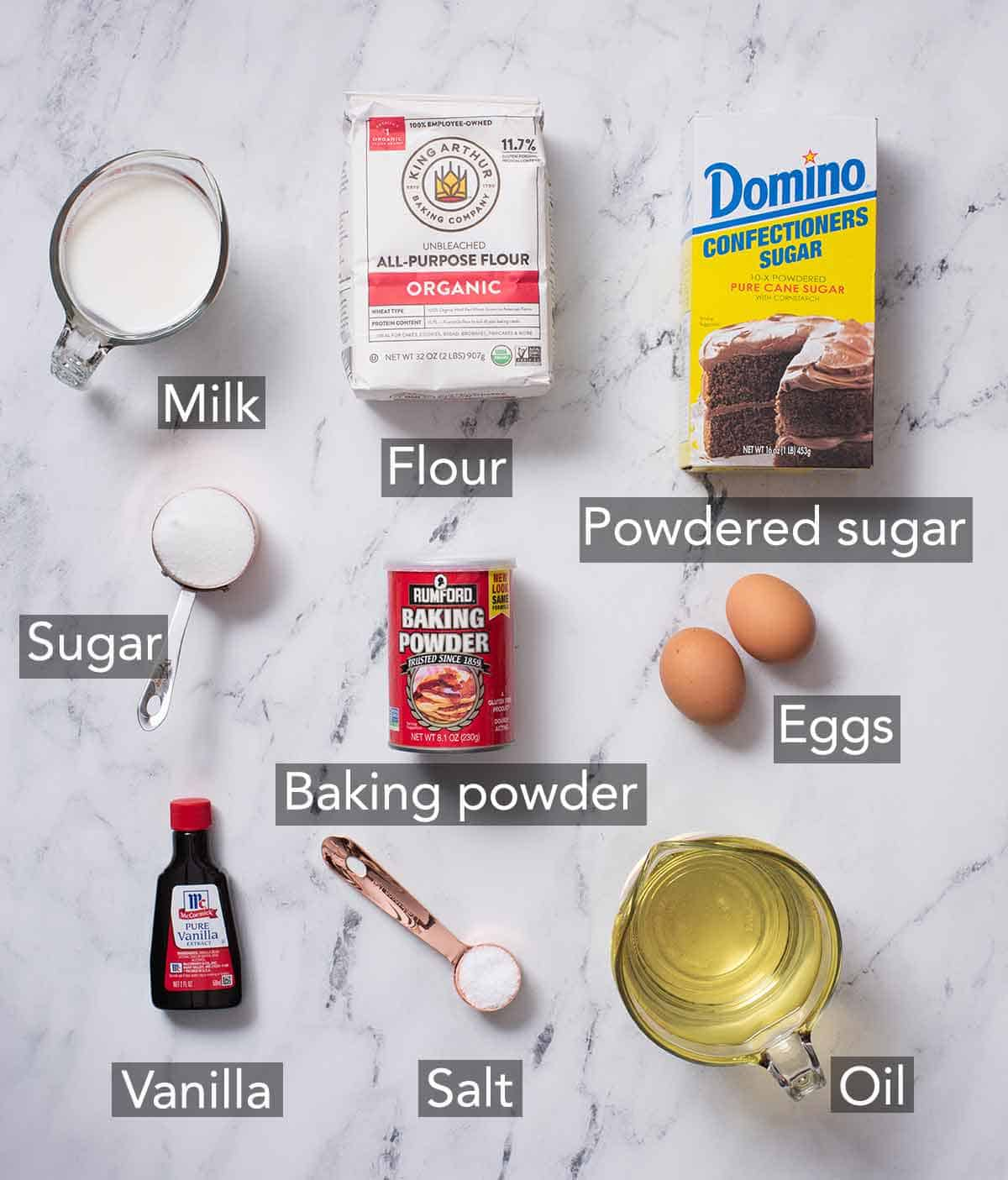 Ingredients needed to make funnel cake.