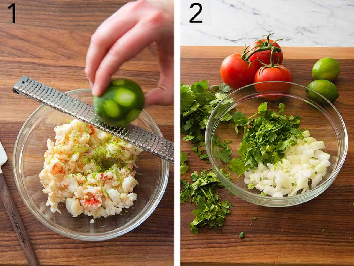 Set of two photos showing lime being zested into the lobster meat and a bowl with cilantro and onions being mixed.