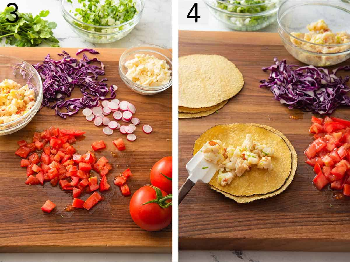Set of two photos showing tomatoes diced, radishes sliced, and cabbage cut and the second image showing lobster added to a tortilla.