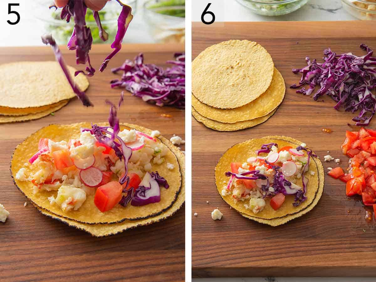 Set of two photos showing cabbage being added to a tortilla and a completed lobster taco.