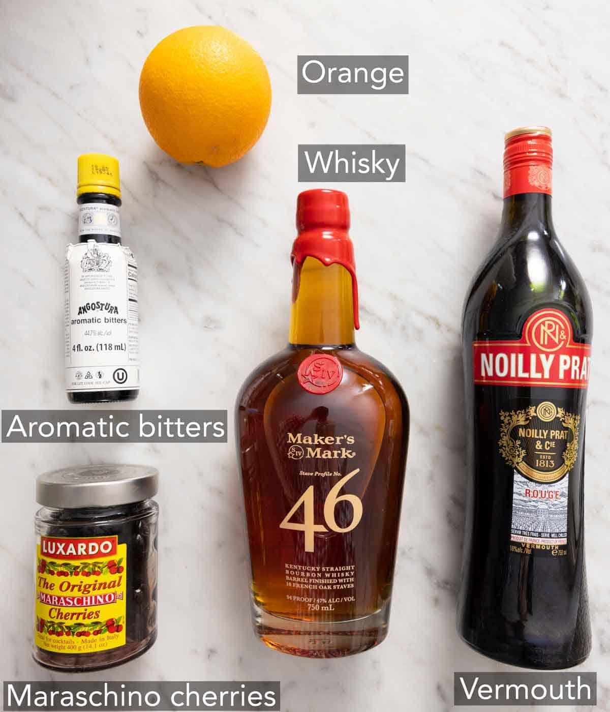 Ingredients needed to make a manhattan drink.