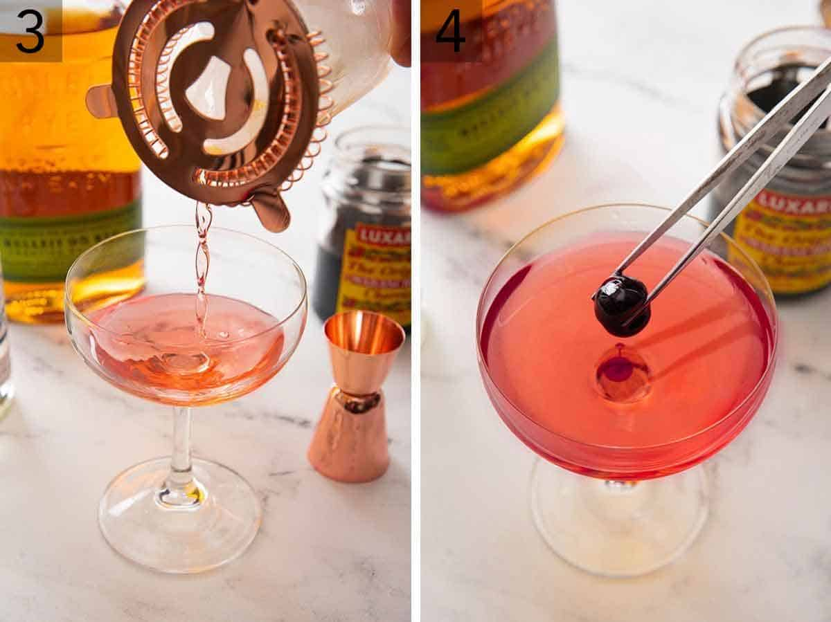 Set of two showing the drink being poured out of a strainer in a cocktail glass and then topped with a maraschino cherry.