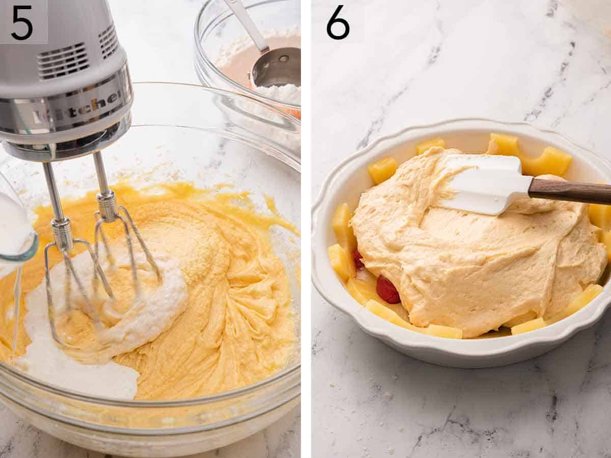 Set of two photos showing liquid added to the batter and then the batter added into the cake pan.