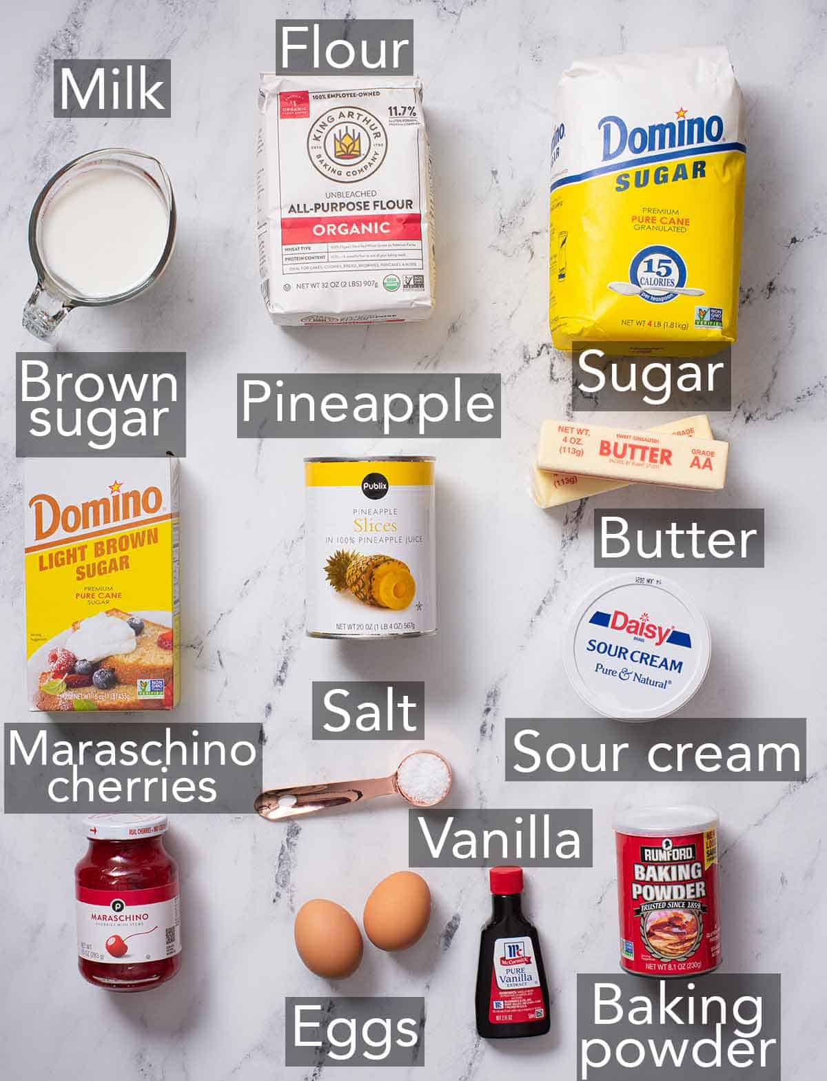Ingredients needed to make a pineapple upside down cake.