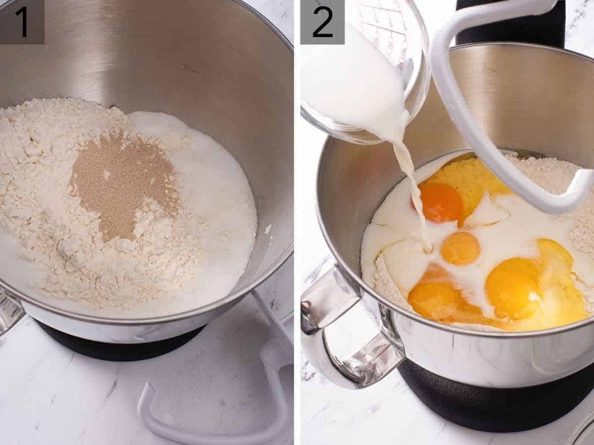 Set of two photos showing dry ingredients added to a mixer and then the wet ingredients added.