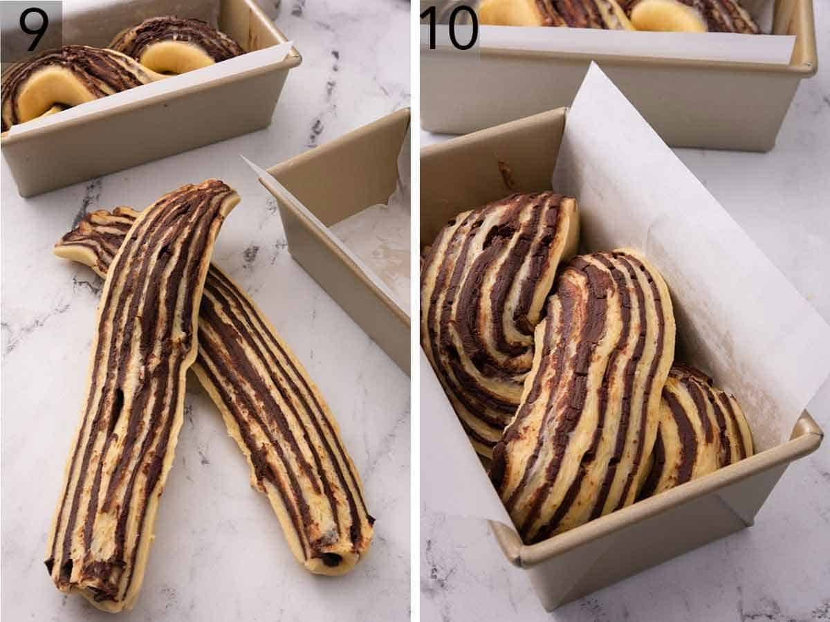 Set of two photos showing the babka dough cut and then braided in the loaf pan.