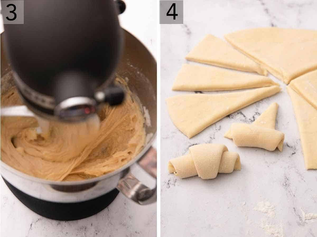 Set of two photos showing the batter being mixed and crescent rolls being rolled beside dough cut into triangles.