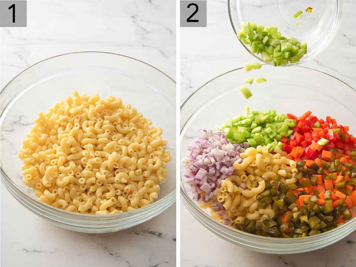 Set of two photos showing a bowl of macaroni pasta and then chopped ingredients added to the pasta.
