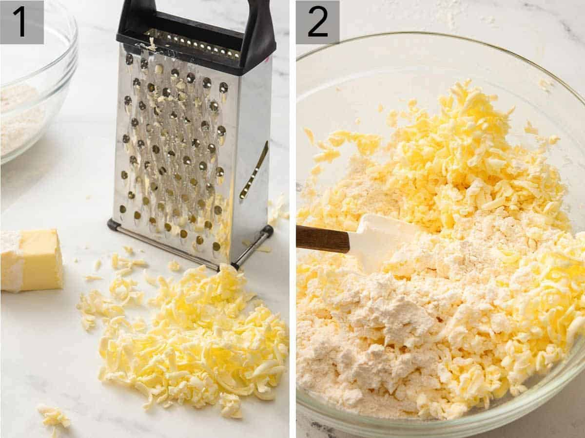 Set of two photos showing butter being grated and then mixed with the flour.