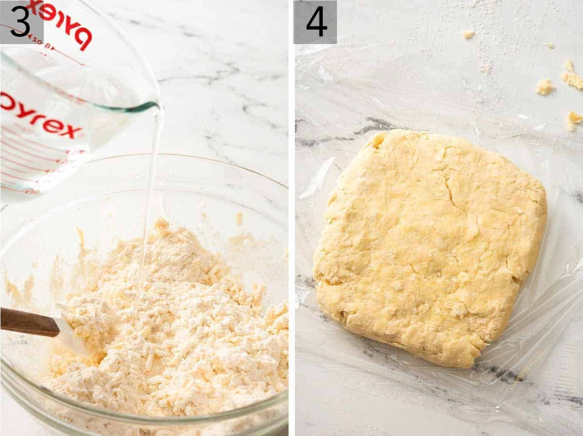 Set of two photos showing cold water added to the mixture and rolled out into a square, placed on top of plastic wrap.