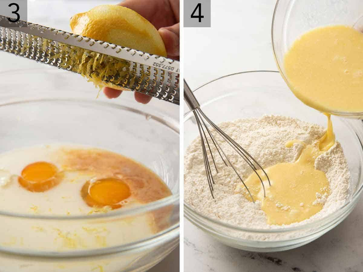 Set of two photos showing lemon zest added to the wet ingredients and then combining the wet and dry ingredients.