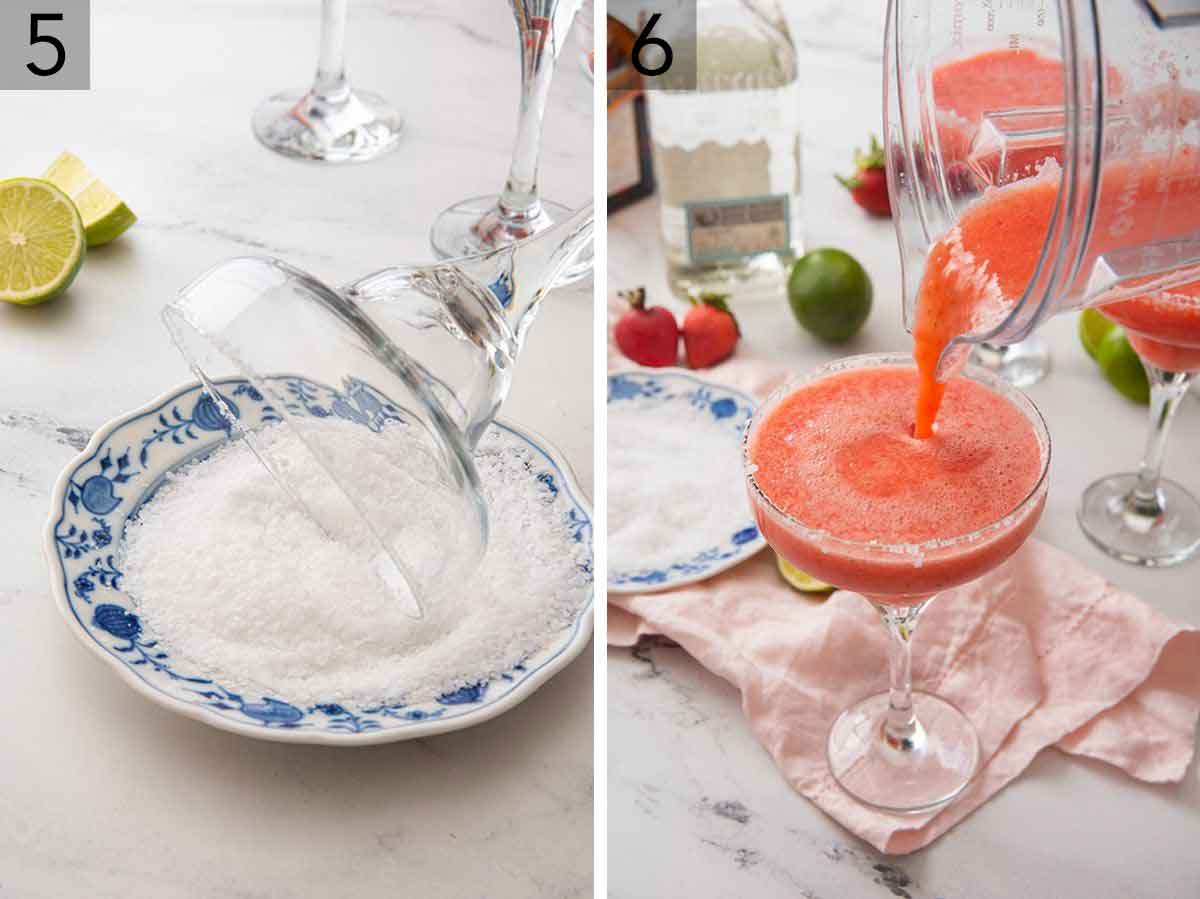 Set of two photos showing salt added to the rim of a cocktail glass and strawberry margarita being poured in from a blender.